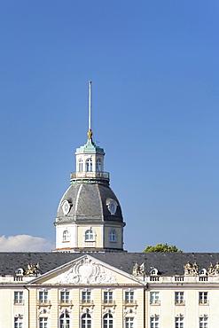 Tower of Schloss Karlsruhe castle, Karlsruhe, Baden-Wuerttemberg, Germany, Europe