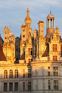 Roof with chimneys, Chateau de Chambord castle, Chambord, Departement Loir-et-Cher, Region Central, France, Europe