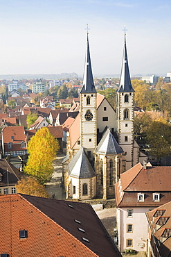 View from the Blauer Turm tower on the old town and the Protestant Church in Bad Wimpfen, Bad-Wuerttemberg, Germany, Europe
