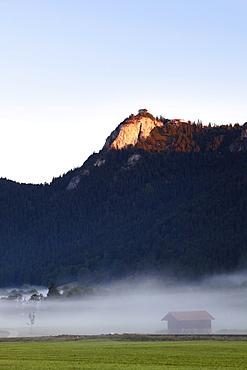 Falkenstein mountain with Falkenstein Castle, Pfronten, view from Vilstal valley in Austria, Ostallgaeu district, Allgaeu region, Swabia region, Bavaria, Germany, Europe