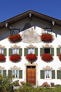 House with a mural of a blacksmith, Jachenau-Muehle, Isarwinkel, Upper Bavaria, Bavaria, Germany, Europe