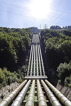 Pipes from Lake Walchen to Lake Kochel, Walchensee Hydroelectric Power Station, Kochel, Upper Bavaria, Bavaria, Germany, Europe