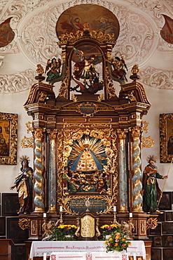 Altar in the Pilgrimage Church of Maria Gern in Berchtesgaden, Berchtesgadener Land, Upper Bavaria, Bavaria, Germany, Europe