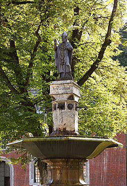 Fountain with a statue of St. Vigilius, Virgilius, in the courtyard of Ancient Salt Works, Bad Reichenhall, Berchtesgadener Land district, Upper Bavaria, Germany, Europe