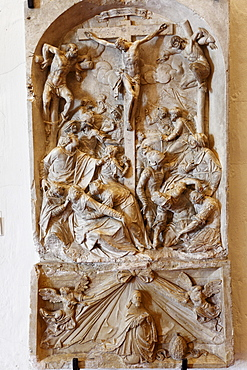 Relief, Crucifixion of Christ by Kilian Fuchs, 17th Century, Goettweig Abbey, Wachau, Mostviertel, Must Quarter, Lower Austria, Austria, Europe