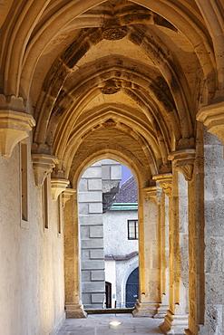 Pillars of the loggia of Gozzoburg Castle, Krems, Wachau, Waldviertel, Forest Quarter, Lower Austria, Austria, Europe