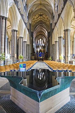 Font by William Pye, Salisbury Cathedral interior, Salisbury, Wiltshire, England, United Kingdom, Europe