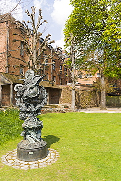 Sculpture in the Great Garden Of New Place, Chapel Lane, Stratford-upon-Avon, Warwickshire, England, United Kingdom, Europe
