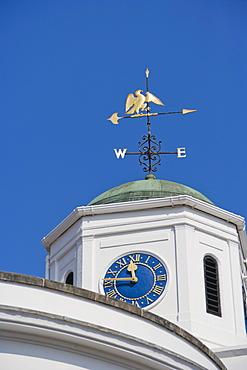 Clock on Barclays Bank building, Bridge Street, Stratford-upon-Avon, Warwickshire, England, United Kingdom, Europe