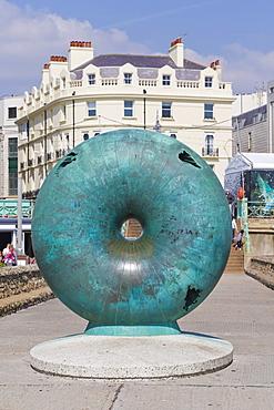 The Big Green Bagel, Seasick Doughnut, sculpture, beach next to Brighton Pier, Brighton, East Sussex, England, United Kingdom, Europe