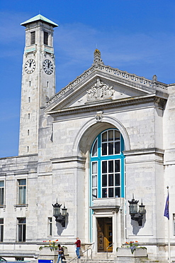 The clock tower and the entrance into the south wing of The Civic Centre, Southampton, Hampshire, England, United Kingdom, Europe