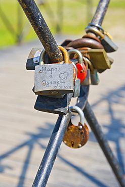 Padlocks on the bridge, wedding tradition, Festival Park, Rezekne, Latgale, Latvia, Northern Europe