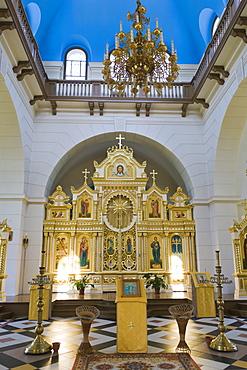 Interior of Stamerienas Sveta Nevas Knaza Aleksandra Baznica, Orthodox Church of St Alexander Nevsky, Stameriena, Gulbene Municipality, Vidzeme, Latvia, Northern Europe