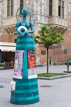 Billboard, Rynek Glowny w Krakowie, Main Market Square, historic district, Krakow, Cracow, Malopolska Province, Lesser Poland Voivodeship, Poland, Europe