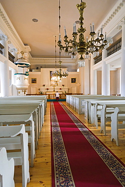 Interior of Evangeliski luteriska Nikolaja baznica, Evangelical Lutheran Nikolay's Church, Ratslaukums, Town Hall Square, Ventspils, Kurzeme, Latvia, Northern Europe