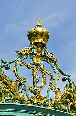 Wrought iron gate in the baroque gardens of Schloss Schwetzingen, or Schwetzingen Castle, Schwetzingen, Baden-Wuerttemberg, Germany, Europe