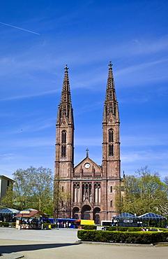 Luisenplatz square in front of the neo-Gothic Catholic Church of St. Boniface, Wiesbaden, Hesse, Germany, Europe