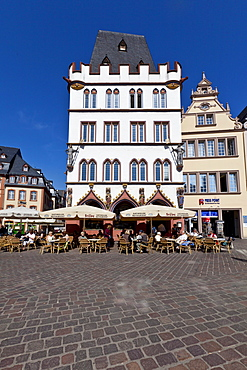 Hauptmarkt square with the Steipe, a former town hall, Ratskeller, Trier, Rhineland-Palatinate, Germany, Europe