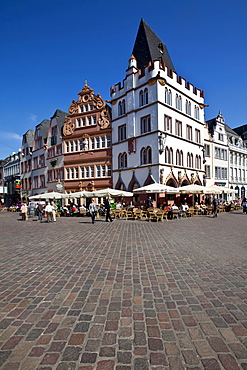 Hauptmarkt square with the Steipe, a former town hall, and Rotes Haus, Red House, Ratskeller, Trier, Rhineland-Palatinate, Germany, Europe