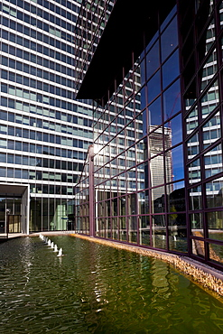 The City-Hochhaus skyscraper of the DZ Bank, also Selmi-Hochhaus after the owner Ali Selmi, Platz der Republik, Frankfurt, Hesse, Germany, Europe