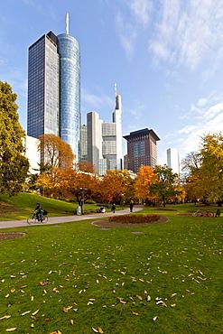 ECB, European Central Bank, HeLaBa Hessische Landesbank, Commerzbank, Japan Tower, autumn, Frankfurt am Main, Hesse, Germany, Europe