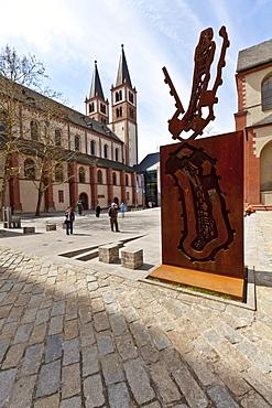 Cathedral of St. Kilian or Wuerzburg Cathedral, Wuerzburg diocese, Kardinal-Doepfner-Platz square, Wuerzburg, Bavaria, Germany, Europe