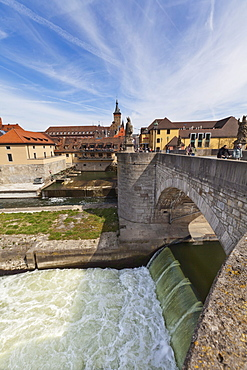 Alte Mainbruecke Main river bridge, overlooking the city hall and the Cathedral of St. Kilian, Wuerzburg, Bavaria, Germany, Europe