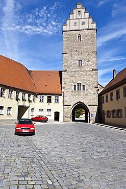 Rothenburger Tor gate, Dinkelsbuehl, administrative district of Ansbach, Middle Franconia, Bavaria, Germany, Europe