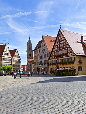 Weinmarkt square and Turmgasse street, Dinkelsbuehl, administrative district of Ansbach, Middle Franconia, Bavaria, Germany, Europe