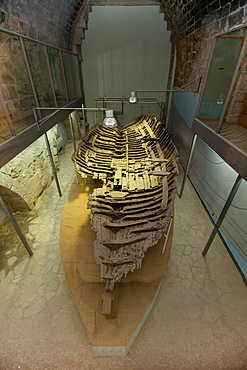 Shipwreck museum, Iron Age shipwreck, the Kyrenia Ship, dated 300 BC, interior view of Kyrenia Castle, Girne, northern Cyprus, Cyprus