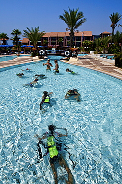 Diving course for children in the swimming pool, Club Aldiana, Southern Cyprus, Cyprus, Europe