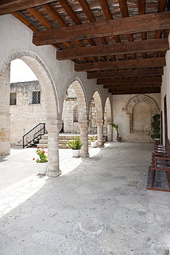 Cloister of the monastery church Timiou Stavro, Omodos, Troodos Mountains, Central Cyprus, Cyprus