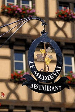 Restaurant sign, Le Medieval, 55 Rue du General de Gaulle, Riquewihr, Alsace, France, Europe