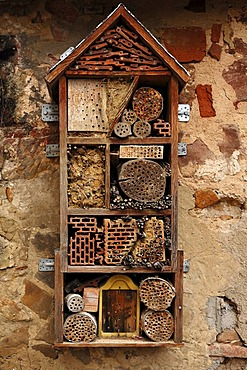 Nest box for insects, insect hotel, courtyard, St. Martin Church, Weismain, Upper Franconia, Bavaria, Germany, Europe