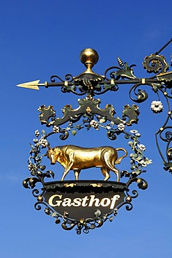 "Hanging sign with a golden ox of the Gasthof ""Zum Ochsen"" restaurant, Endingerstrasse 12, Koenigschaffhausen am Kaiserstuhl, Baden-Wuerttemberg, Germany, Europe"