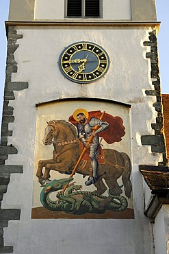 Fresco of St. George, tower of the Sankt Georgs Kirche church, Wasserburg am Bodensee, Bavaria, Germany, Europe