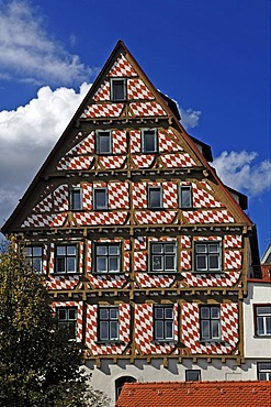 Old half-timbered house painted with red diamonds, as seen from the city wall, Ulm, Baden-Wuerttemberg, Germany, Europe
