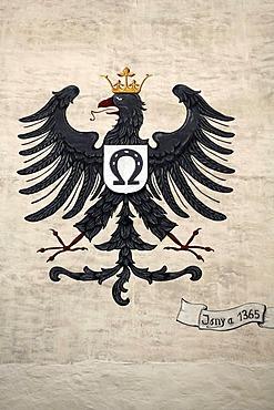 Eagle with crown, heraldic animal of Isny of 1774 on the Wassertor gate, Isny, Allgaeu, Bavaria, Germany, Europe