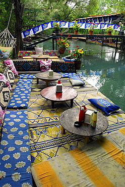 Restaurant terrace at the Esen Cay river, Saklikent Canyon nature park, Ak daglar, Akdagi Mountains, Fethiye in the district of Mugla, Turkey, Eurasia