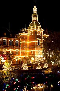 The H. C. Andersen Castle in Tivoli with Christmas decoration, Copenhagen, Denmark, Europe