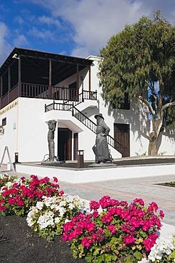 Vineyard, winery in volcanic landscape, La Geria, Lanzarote, Canary Islands, Spain, Europe
