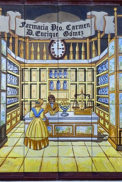 Pharmacy sign, faience ceramics, Puerto del Carmen, Lanzarote, Canary Islands, Spain, Europe