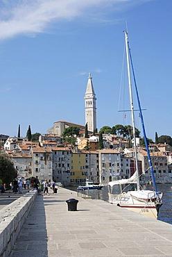 City view and promenade, old town, Rovinj, Croatia, Europe