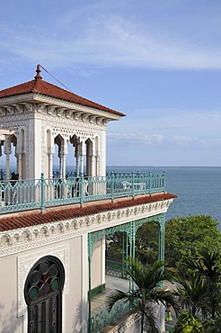 Sea view from the terrace of the Palacio del Valle, Punta Gorda peninsula, Cienfuegos, Cuba, Caribbean, Central America