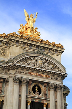 Main facade, Opera de Paris, Palais Garnier, statue of the Allegory of Lyric Poetry and a bust of the composer Halevy, 9th Arrondissement, Paris, France, Europe