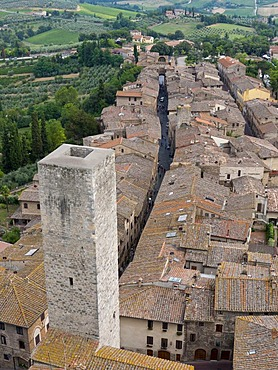 Dynasty tower in the medieval city center, San Gimignano, Tuscany, Italy, Europe