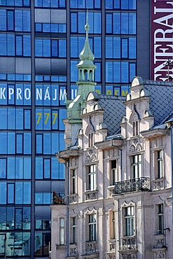 Modern office buildings behind Baroque houses, Pilsen, Bohemia, Czech Republic, Europe