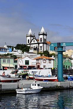 Port and church of Sao Mateus de Calheta on the island of Terceira, Azores, Portugal
