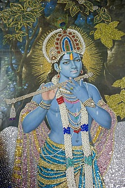 Hinduism, painting of Lord Krishna with flute, Durgiana Mandir Vishnu Temple, Amritsar, Punjab, India, South Asia