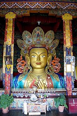 Tibetan Buddhism, Buddha Maitreya, Buddha of the future, Buddha statue, Thiksey Gompa Monastery, Thikse, Tikse, Ladakh region, Jammu and Kashmir, India, South Asia